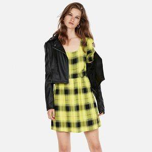 Express plaid square neck smoked sleeved dress